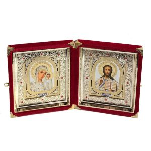 "10"" Wedding Icon Diptych, Virgin of Kazan & Christ"