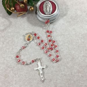4mm Red Guadalupe Rosary w/Round Box from Italy