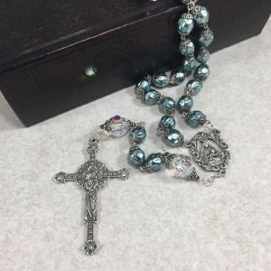 Sterling Silver Blue Czech Glass Swarovski Rosary
