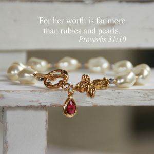 Pearl & Ruby Cross Bracelet