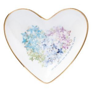 Violet Floral Heart Dish 'Done in Love'