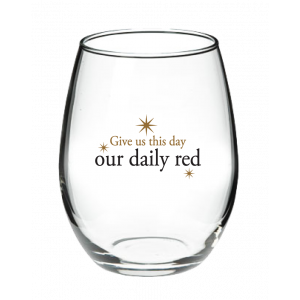 Our Daily Red Stemless Wine Glass