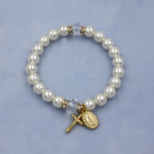 ACM172 Pearl Miraculous Rosary Bracelet Gold