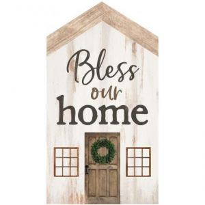 'Bless Our Home' Word Block Wood Plaque