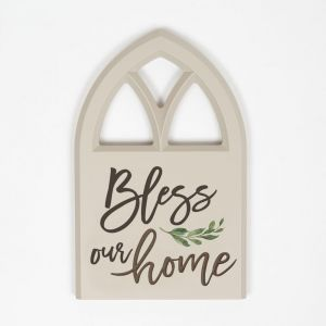 'Bless Our Home' Window Wood Plaque