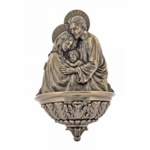 Holy Family Bronzed Holy Water Font 9""