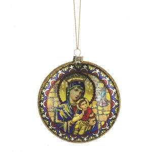 Madonna and Child Glass Ornament