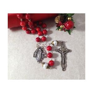 Sterling Silver Coral and Pearl Rosary