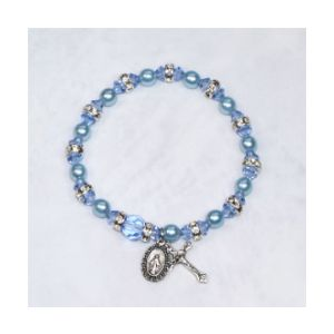 Pearl and Crystal Stretch Rosary Bracelet - Blue
