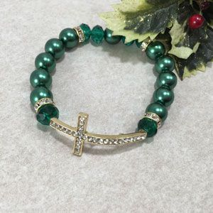 12mm Side Cross Bracelet - Green