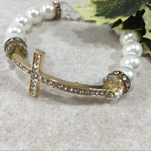 ACM56 12mm Side Cross Bracelet - White