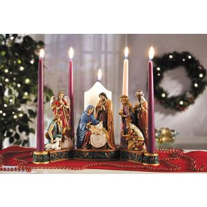 ACM127 Nativity Advent Candleholder 13""