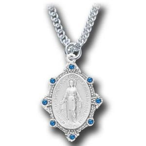 ACM49 Miraculous Medal With Sapphire SS 18""