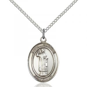 St. Stephen Sterling Medal Necklace 24''