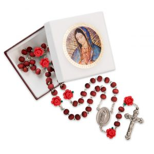 Our Lady of Guadalupe Boxed Rosary with Roses