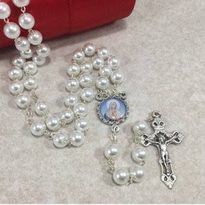 Immaculate Heart of Mary 8mm Pearl Rosary