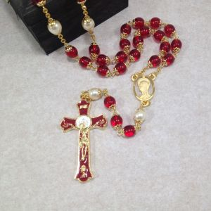 8mm Pearl and Red Holy Mass Rosary