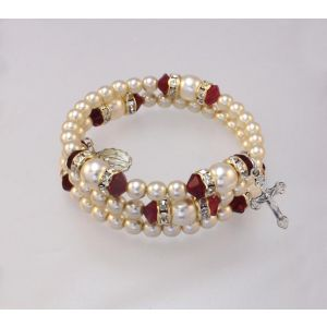 Pearl & Crystal Rosary July Bracelet