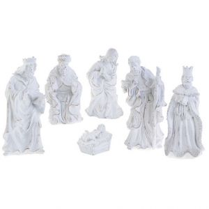 6 Piece White Glitter Nativity 10""