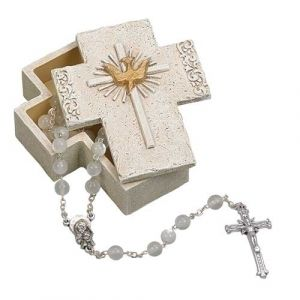 Confirmation Cross Box White/Gold
