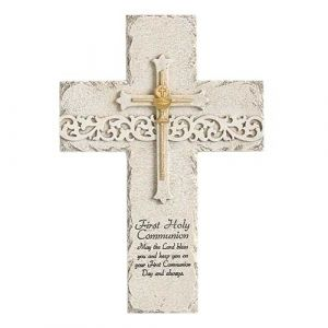 Communion Wall Cross White Gold