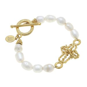 Pearl Cross Toggle Bracelet