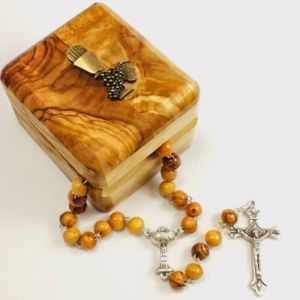 ACM36 Olivewood Rosary and First Communion Box