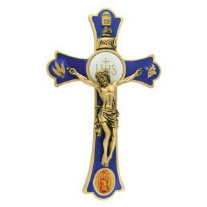 """8"""" Holy Mass Crucifix Guadalupe Color"""