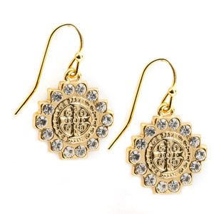 ACM5 St. Benedict Gold and Crystal Earrings