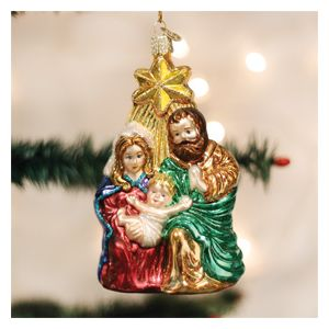 Holy Family Blown Glass Ornament