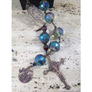 Aqua Crystal One Decade Holy Family Rosary