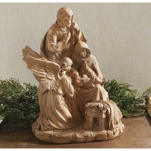 Wood Look Holy Family Statue with Angel