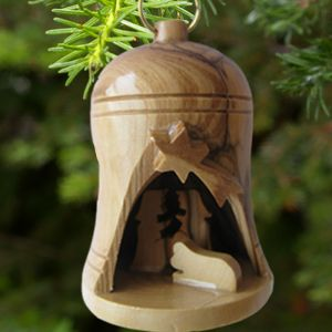 ACM35 Olivewood Nativity Bell