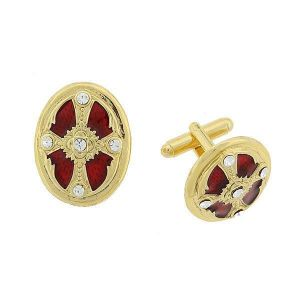 Red Enamel Cross Cuff Links