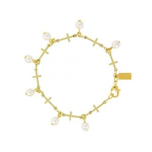 Pearl Multi Cross Bracelet