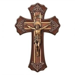 Filigree Bronzed Resin Crucifix
