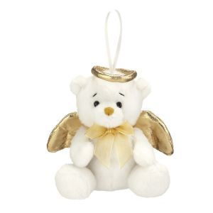 ACM203 Tiny Plush Angel Bear Ornament (Gold)
