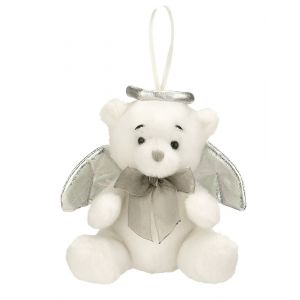 ACM204 Tiny Plush Angel Bear Ornament (Silver)