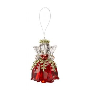 ACM 125 Rosebud Red Krystal Angel Ornament