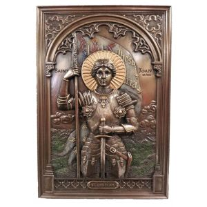 St. Joan of Arc Plaque, Cold Cast Bronze