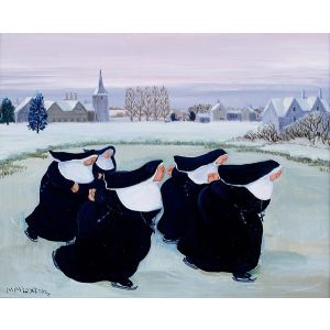 Nuns Ice Skating by Loxton Christmas Card