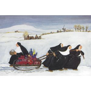 Nuns Pulling Sled by Loxton Christmas Card