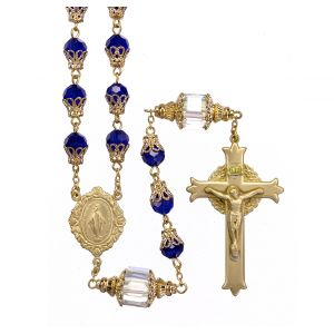 Faceted Cobalt 8mm Crystal Rosary