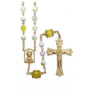 White & Yellow8mm Marble Rosary