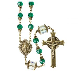 Faceted 8mm Emerald Crystal Rosary