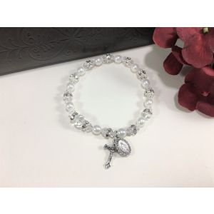 Pearl & Crystal White Stretch Bracelet